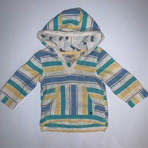 OshKosh Striped Hooded Tunic throw over SZ 12M